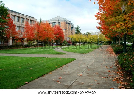 A colorful look at campus life - stock photo