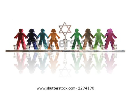 A colorful menorah of kids holding hands - stock photo