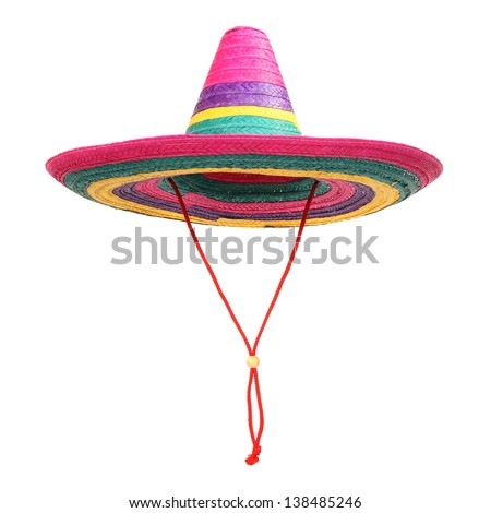 A  colorful mexican sombrero on a white background. - stock photo