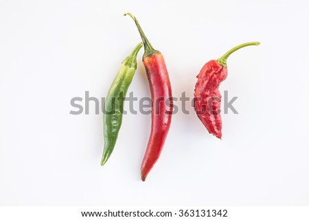 a colorful mix of the hottest chili peppers. isolated on white.Thai chili, serrano, jalapeno, bhut jolokia,