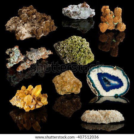 A colorful montage of several precious and semiprecious mineral specimens