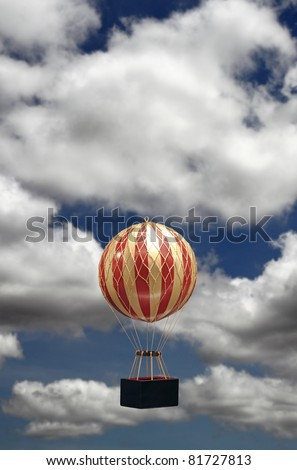 A colorful striped old-fashioned helium balloons taking off against a cloudy blue summer sky with copyspace for text. - stock photo