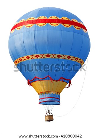A colorful striped old-fashioned hot air balloon isolated against white.  - stock photo