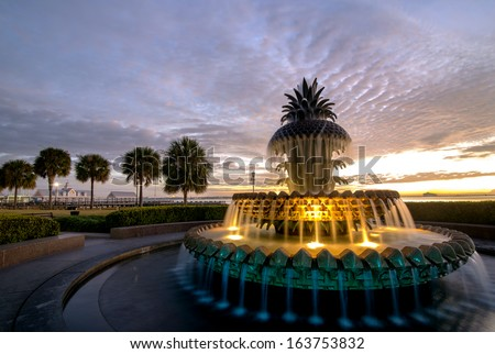 A Colorful sunrise over waterfront park near the Charleston Harbour. Historic Charleston, South Carolina - stock photo