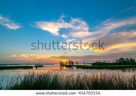 A colorful sunset of yellow, orange and blues in the Louisiana swamps along the Mississippi River with clouds in the blue sky and reeds in the foreground.  - stock photo