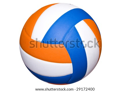 A colorful volleyball ball isolated on white - stock photo