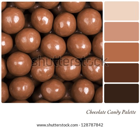 A colour palette with a background texture of milk chocolate candies with complimentary colour swatches. - stock photo