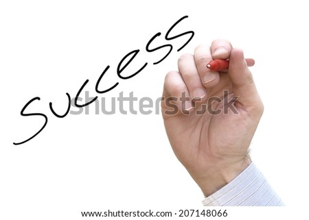 A Colourful Concept photo showing a Business Hand Writing the word Success - stock photo