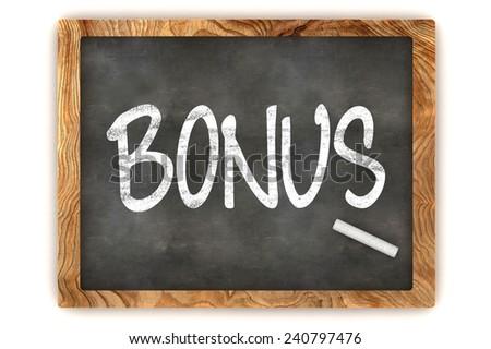 A Colourful 3d Rendered Blackboard Illustration Showing 'Bonus' - stock photo