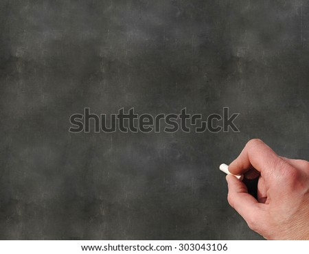 A Colourful 3d Rendered Concept Illustration showing a hand writting on a blank blackboard