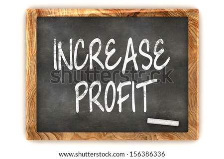 "A Colourful 3d Rendered Concept Illustration showing ""Increase Profit"" writen on a Blackboard with white chalk"