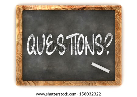 """A Colourful 3d Rendered Concept Illustration showing """"Questions"""" writen on a Blackboard with white chalk - stock photo"""