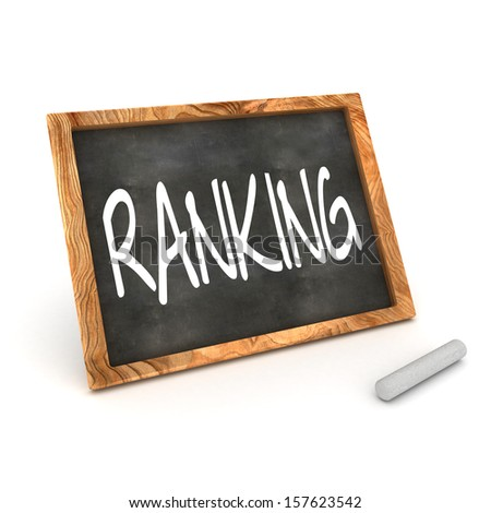 "A Colourful 3d Rendered Concept Illustration showing ""RANKING"" writen on a Blackboard with white chalk - stock photo"