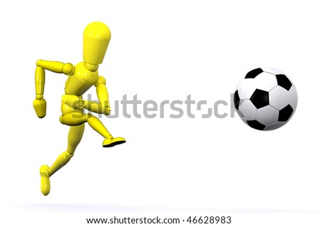 A Colourful 3d Rendered Football Illustration - stock photo