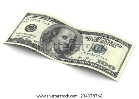 A Colourful 3d Rendered Illustration of a Hundred Dollar Bill - stock photo