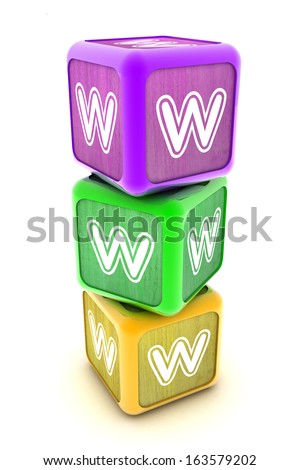 A Colourful 3d Rendered Illustration of Internet WWW Building Blocks - stock photo