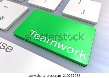 A Colourful 3d Rendered Illustration showing Teamwork on a Computer Keyboard