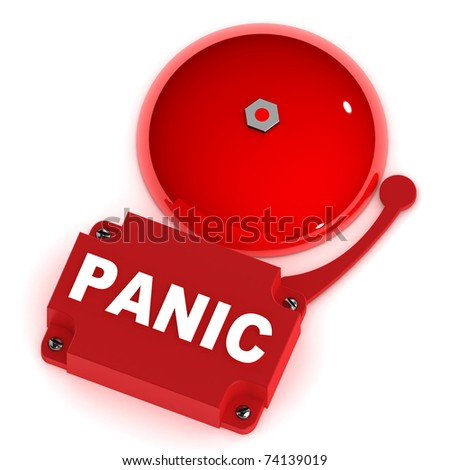 A Colourful 3d Rendered Panic Alarm Bell - stock photo
