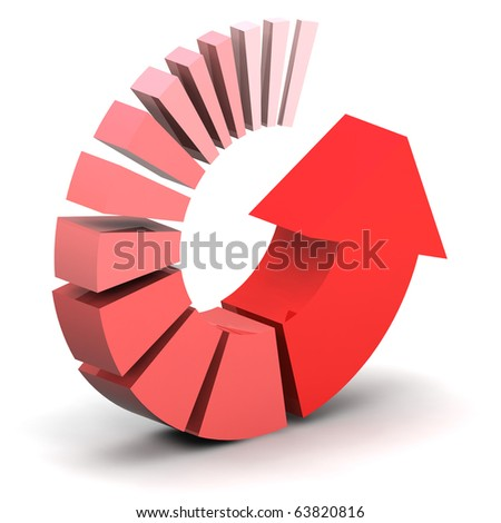 A Colourful 3d Rendered Red Arrow Illustration