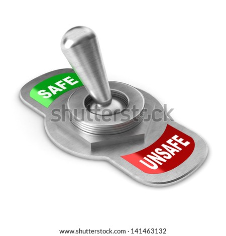 A Colourful 3d Rendered Safe vs Unsafe Concept Switch - stock photo