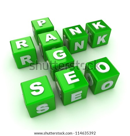 A Colourful 3d Rendered SEO Optimization Concept Crossword Illustration - stock photo