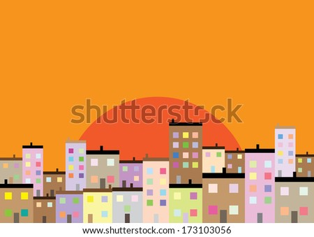 A Colourful Housing Estate at Sunset - stock photo