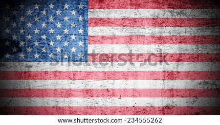 A Colourful Illustration on an American Flag in a Grunge Style - stock photo