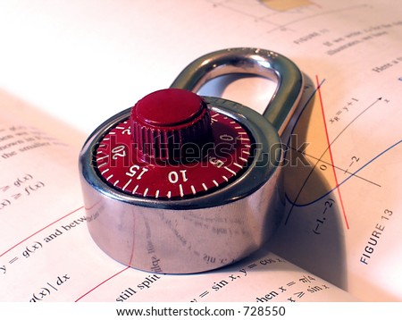 A Combination lock on a Calculus textbook - stock photo