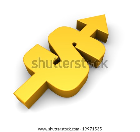a combination of a dollar sign and an arrow pointing upwards - stock photo
