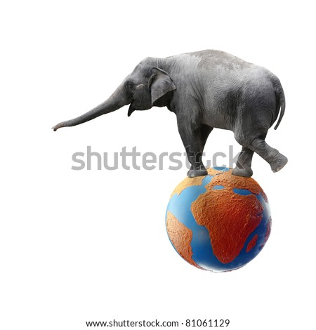 A comical elephant stretching out its trunk while balancing on a colorful globe showing the continent of Africa, isolated against white. - stock photo