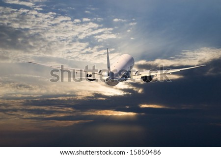 A commercial airplane during takeoff from the airport