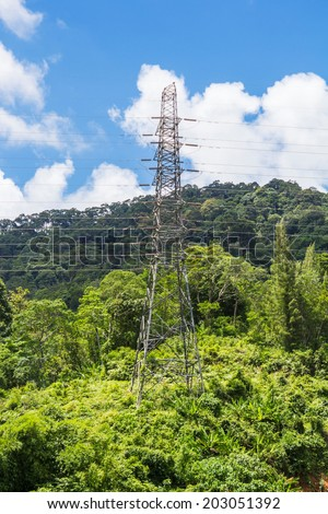 a communications tower for tv radio and cell phone networks - stock photo