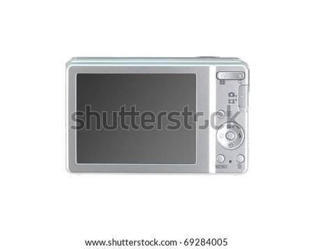A compact camera isolated against a white background