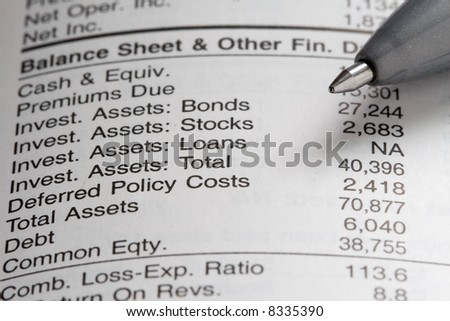 A company balance sheet composed with pen.