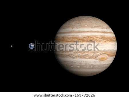 A comparison between the planets Earth and Jupiter and the Moon on a clean black background. - stock photo