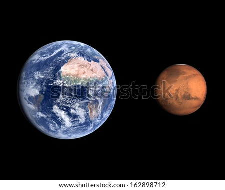 A comparison between the planets Earth and Mars on a clean black background. - stock photo