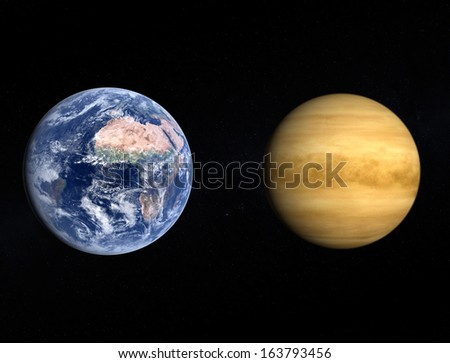 A comparison between the planets Earth and Venus on a slightly starry background. - stock photo