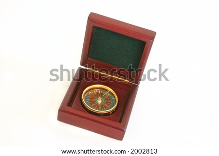 A Compass in wooden box