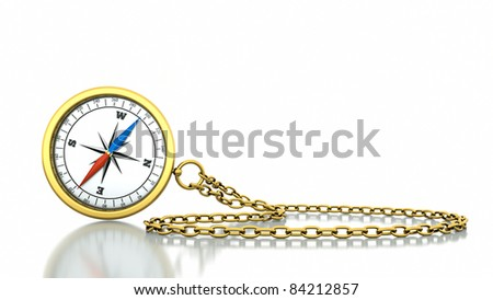 a compass with chain isolated  on white