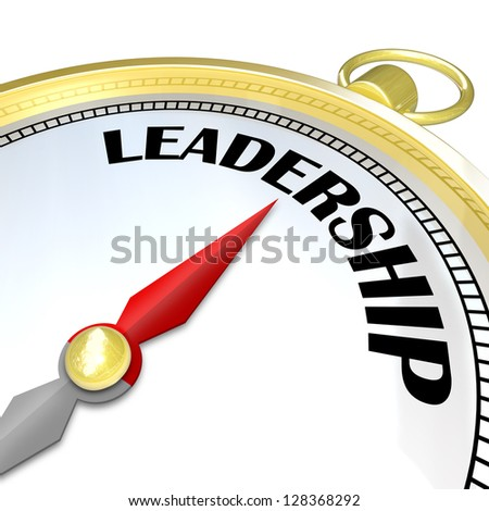 A compass with needle pointing to the word Leadership, representing the importance of a good capable leader to lead his team out of crisis and into success and reaching goal - stock photo