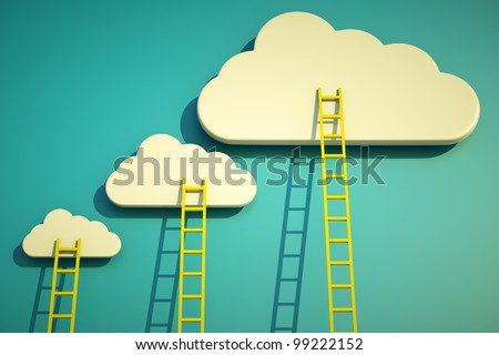 a competition concept, clouds with ladders on blue - stock photo