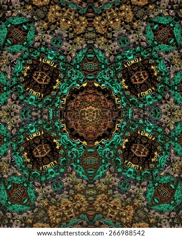 A complicated geometric fractal pattern with a psychedelic color surface. - stock photo