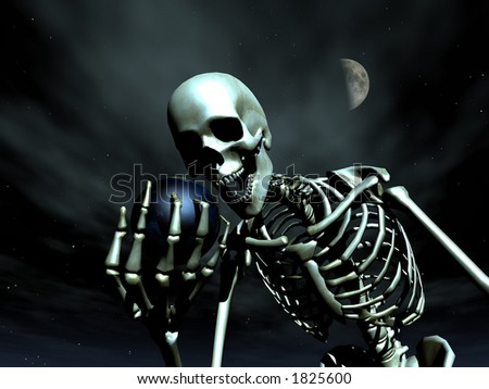 A computer created image of earth being grabbed by a skeleton  could represent death.