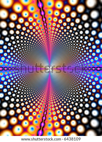A computer generated, fractal design that simulates a retro design, which can also be used for concepts such as astronomy, telecommunications, or the internet. - stock photo