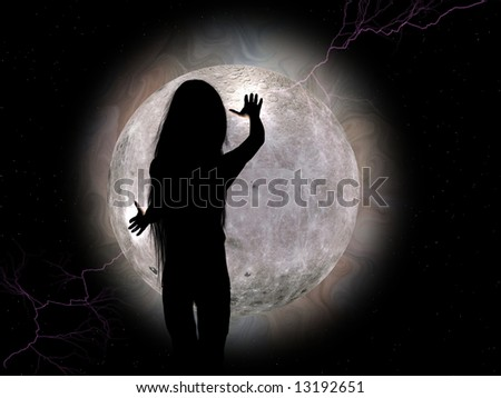 A computer generated girl and the full moon, stars, lightning, corona