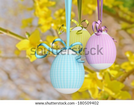 A computer generated image of colorful easter eggs.  - stock photo
