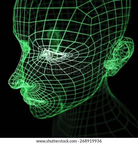 A computer generated imagery of a polygonal human head model rendered with wireframe.  It could represent a will, thought, mind or artificial intelligence in the cyberspace. - stock photo