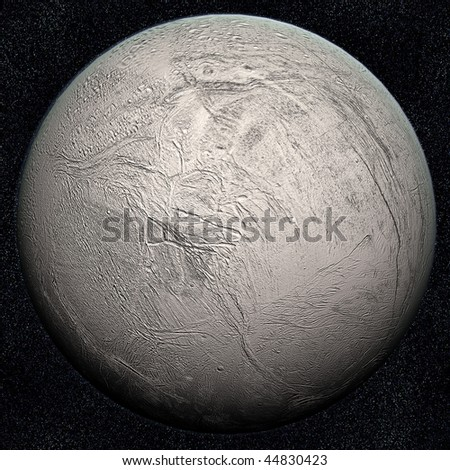 A computer graphic rendering of Enceladus, one of Saturn's satellites