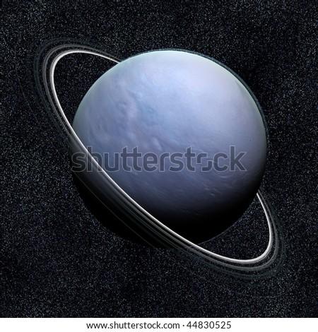A computer graphic rendering of Uranus - stock photo