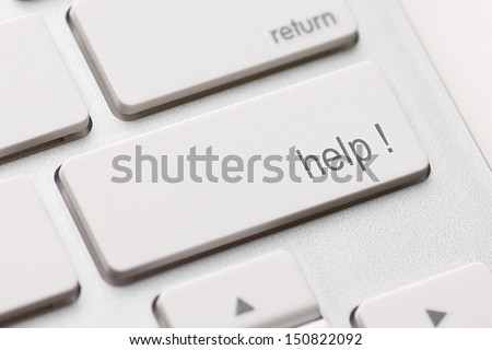 A computer Help Key. White keyboard - stock photo